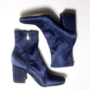 Marc Fisher blue satin ankle boots